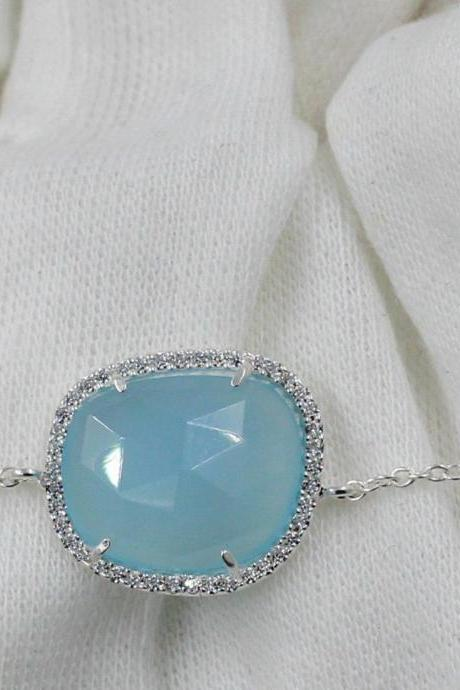 Sea Blue Chalcedony Bracelet,CZ Chain Bracelet,Solid 925 sterling silver jewelry,Birthday Gift,Casual Wear,Gemstone Jewelry,Christmas Gift,
