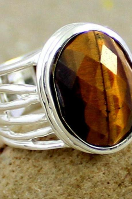 Natural Tiger Eye ring,Sterling 925 Silver Handmade jewelry,Anniversary Gift,Rainbow Moonstone ring,Men/Women Ring,Genuine Gemstone Jewelry
