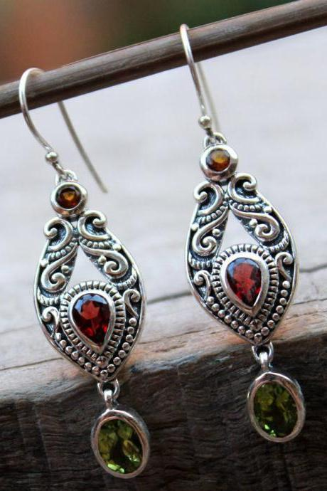 Multi- color Bali Earring garnet peridot citrine gemstone earring oxidized 925 sterling silver jewelry Valentine gift Birthday gift ETER1043