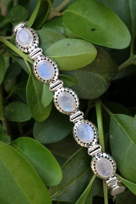 Prismatic Rainbow Moonstone Exclusive Bracelet,925 Sterling Silver Bracelet,Bride's Maid Wedding jewelry,Oxidize vintage look silver jewelry