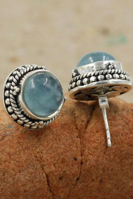 Exotic Ornate Post Earring,Aqua Chalcedony Stud Earring,Gift for Girl Friend,Solid 925 Sterling Silver Jewelry,Attractive office Wear Stud