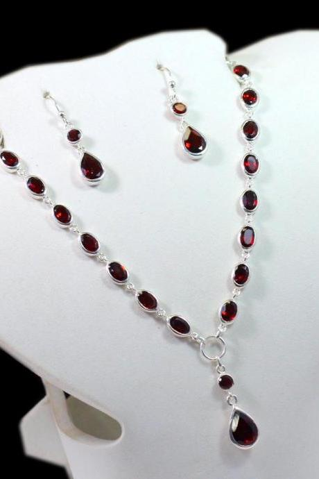 Red Garnet necklace set,natural faceted Gemstone 925 sterling silver jewelry,Christmas gift, New Year gift for wife,Hand crafted Jewelry
