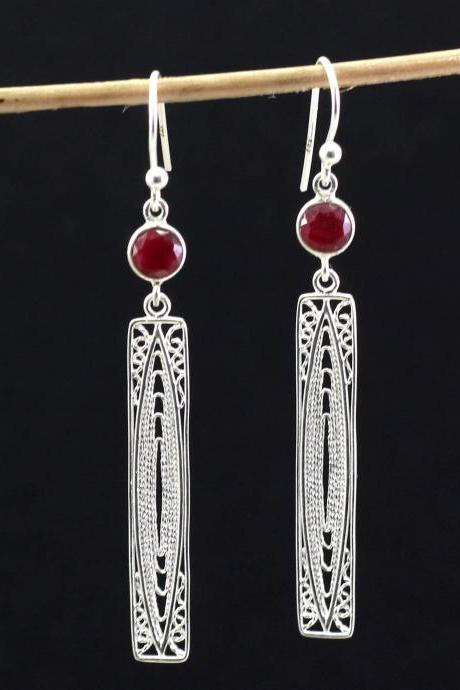 Fine Filigree Hanging Earring Ruby Earring 925 Sterling Silver Jewelry Handmade Earring Valentine Gift Red Corrundum Long Danglers ETER1003