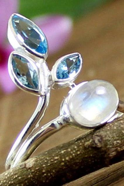 Stunning Faceted Gemstone Silver Ring,925 Sterling Silver jewelry,Designer Moonstone Blue topaz Ring,Anniversary gift,Amethyst Ring For Me