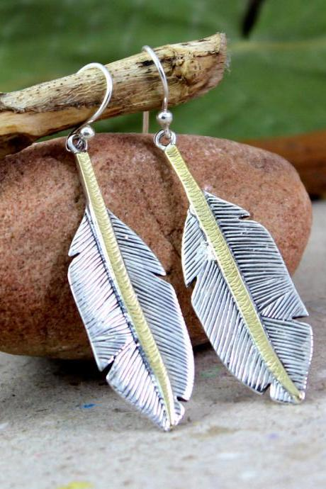 Two Tone feather Earring,Spiritual Symbol Solid 925 Sterling Silver Earring,Gift for Mom,Thanks Giving Present to honor,Anniversary Gift