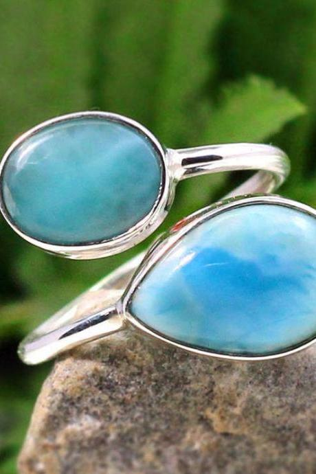 NaturalLarimar Ring,Dominican Larimar Promise ring,Solid 925 Sterling Silver,Adjustable two stone ring,Anniversary Gift,Christmas gift Ring