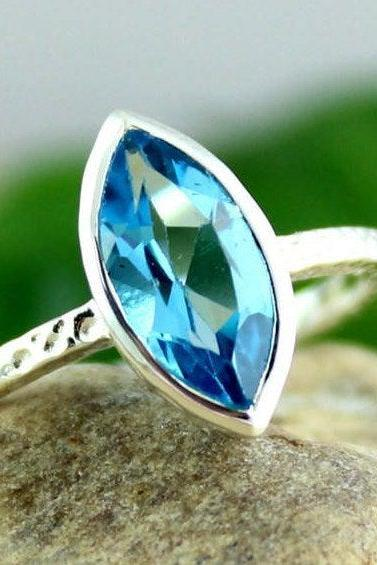 Solitaire Blue Topaz Ring,Engagement Ring,Anniversary Gift,Texture Band,Solid 925 sterling silver jewelry,Birthstone gift,Natural Gemstone