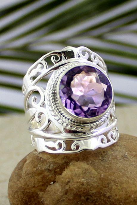 Solitaire Purple Amethyst Filigree Ring,925 sterling silver jewelry,Anniversary Ring,Mom's Birthday Gift,Wedding Gift,Christmas Gift MR1213