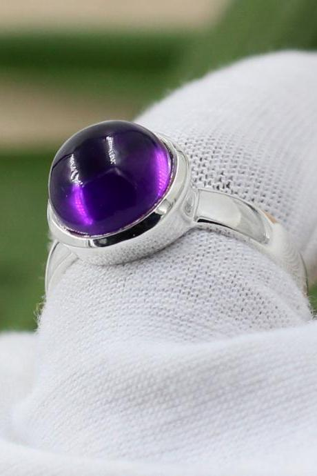 Royal Amethyst Cabochon Ring,Brazilian Rose Quartz 10 mm,Solid 925 sterling silver jewelry,Anniversary Gift,Proposal Ring,Engagement Ring