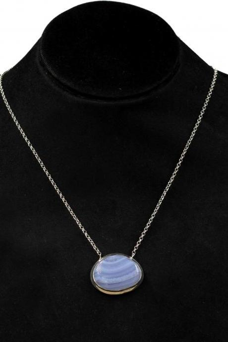 Gorgeous Blue Lace Agate Necklace,Solid 925 Sterling Silver Jewelry,Anniversary Gift,Anniversary Gift Chain Pendant Necklace,Pendant For Mom