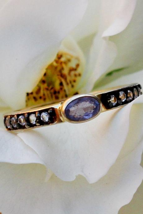 Lovely CZ enhanced Tanzanite Ring,925 Sterling Silver Jewelry,Stacking Ring,Engagement Ring,Anniversary Gift,Gemstone band,Engagement Ring