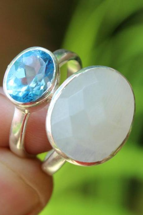 Moonstone Ring & Blue Topaz Anniversary Ring,Solid 925 Sterling Silver Jewelry,Bridal Shower Gift,Proposal Ring,Surprise Gift for mother