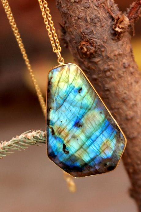 Refracted Fire Labradorite Necklace,Bold Pendant on Long Chain,Solid 925 Sterling Silver Jewelry,Party Wear,Wedding Gift,Anniversary Gift