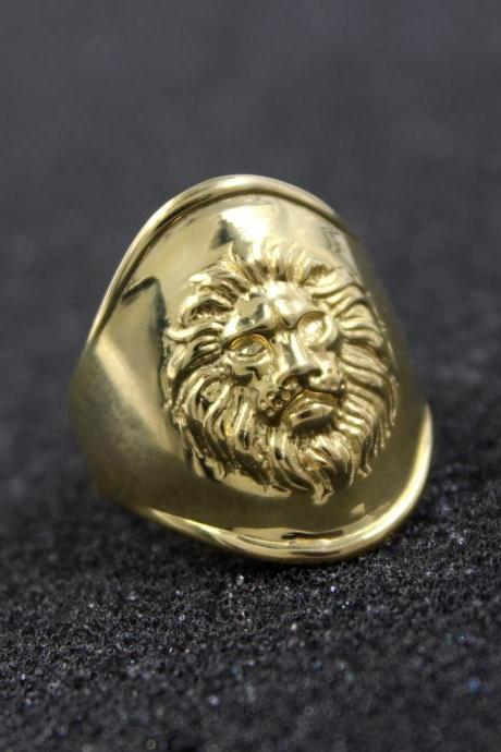 925 Sterling Solid Silver Lion Ring, Men's Women Lion Ring,Silver Lion Handmade Ring,Gold Plated Designer Anniversary Present Ring