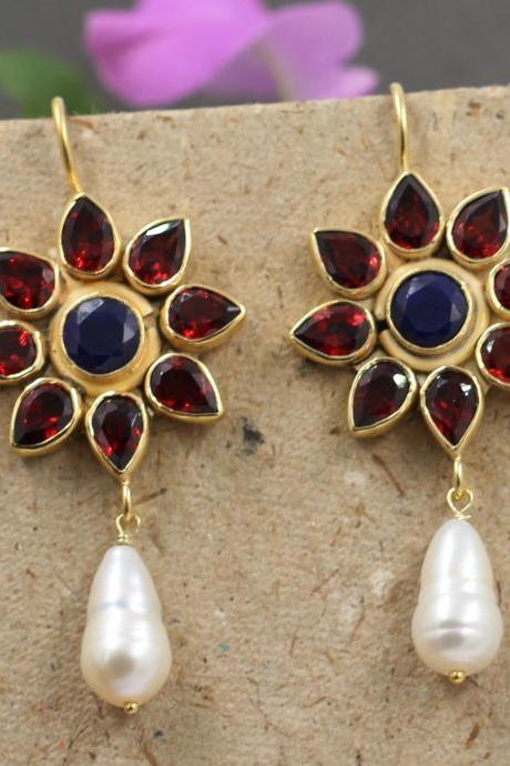 Magnificent Garnet Sapphire Earring with Pearl drops,925 Sterling Silver Handmade Jewelry,Proposal Earring,Anniversary Gift,Valentine Gift,
