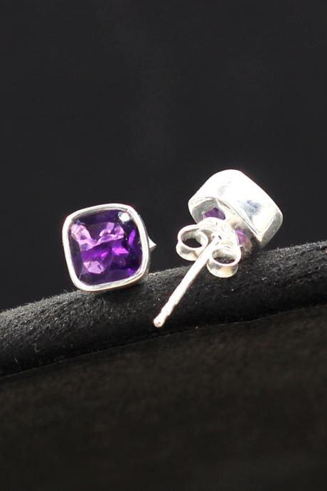 Cute Handmade Amethyst Post Earring,Solid 925 Sterling Silver Genuine Gemstone Jewelry,Everyday Office Earring,Birthday gift for Daughter,,