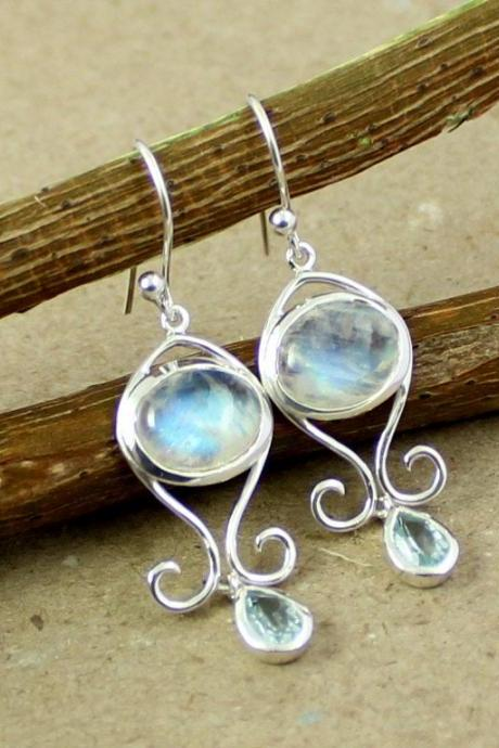 Cute Sterling Silver Dangler,Rainbow Fire Moonstone & Blue Topaz Everyday Wear Earring,Daughter's Birthday Gift,Anniversary Gift