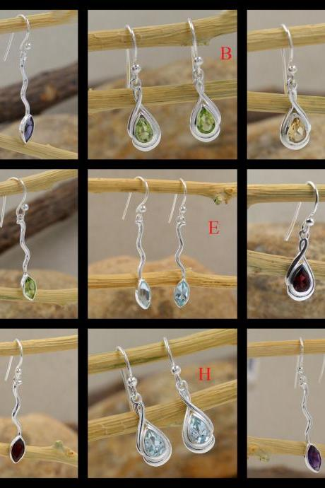 Multi Color Gemstone Drop Earring,Solid 925 Sterling Silver Jewelry. Please send me a note for your choice of earrings
