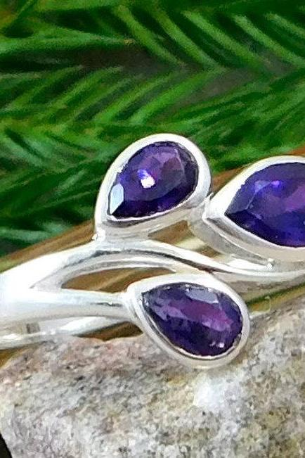 Amethyst Three Stone Dainty Ring,925 Sterling Silver Jewelry,Anniversary Gift Ring,Office wear silver jewelry,,Birthday gift for Friend,