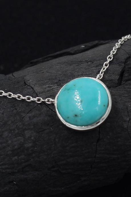 Natural American Turquoise Gemstone Necklace Solid 925 Sterling Silver Jewelry, for girl Friend,Bridal Shower Gift,Anniversary Present