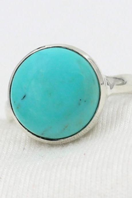 Natural American Turquoise Ring,Solid 925 Sterling Silver Gemstone Jewelry,Valentine Gift,Anniversary Gift Ring,New Year Gift for Daughter
