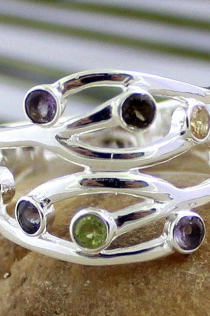 Multi gem vibrant Jewelry,Iolite,Garnet,Amethyst,Citrine Root Ring,Anniversary gift,Gift Designer Ring,925 Sterling Silver Jewelry,MR1263