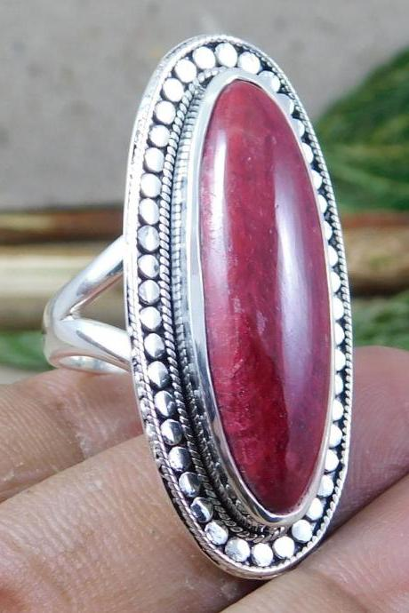 Long oval cabochon Ruby Ring Traditional Oxidized Handmade Statement Ring 925 Solid Sterling Silver Wedding Jewelry Anniversary Gift MR1260