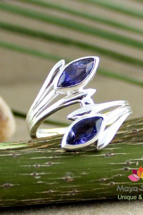 Iolite Ring,Two stone,Unique Classy Ring,Solid 925 sterling silver,gemstone jewelry,Engagement Ring,Birthday Present,Anniversary Ring gift,
