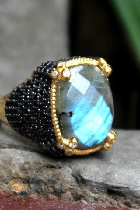 Designer Labradorite, Black CZ Ring,Solid 925 Sterling Silver Men/Women Jewelry,Bohemian Ring,Engagement Ring,Mom's Bejeweled New Year Gift