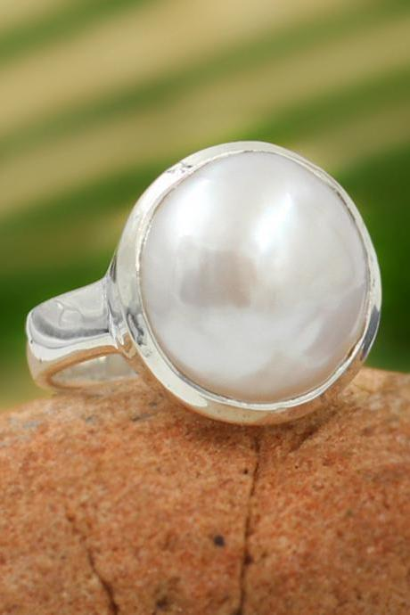 Cool Natural Coin Pearl Ring,Solid 925 Sterling Silver Jewelry,Valentine's day Gift Ring,Birthday Gift,Healing Pearl Ring,Baby Shower gift