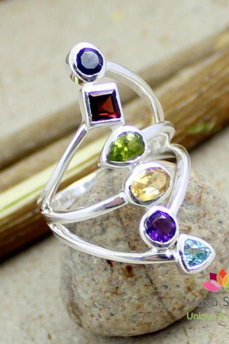 Gorgeous Valentine Ring,Colorful Genuine Gemstones Ring,925 sterling silver Multi gemstone jewelry,Anniversary Present,Promise Ring MR1100