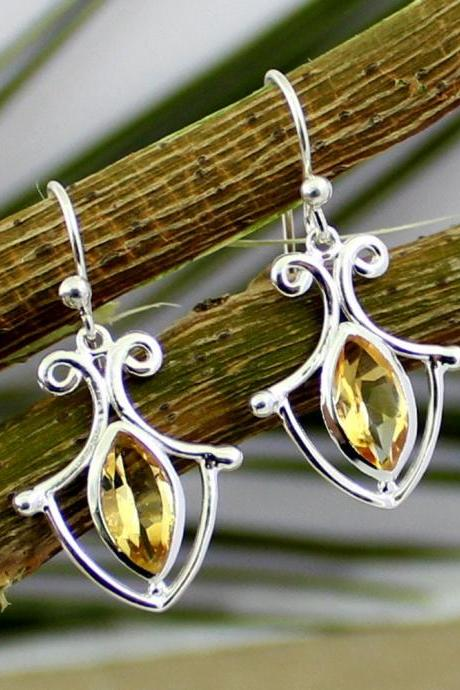drop Dangle Citrine Earring,healing gemstone,925 sterling silver gemstone Jewelry,Silver Earring,gift earring,everyday Wear,Birthday Gift