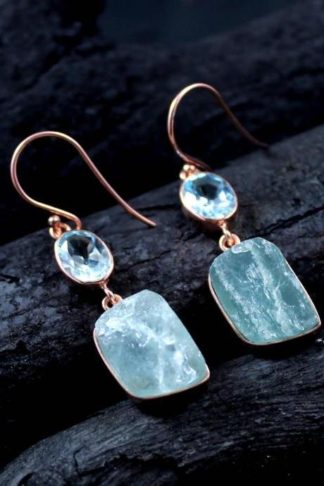 Aquamarine & Blue Topaz Earring,Rough Aquamarine Jewelry,Rose Gold Plated,Handmade Sterling 925 Silver Earring,Anniversary Earring ETER1006