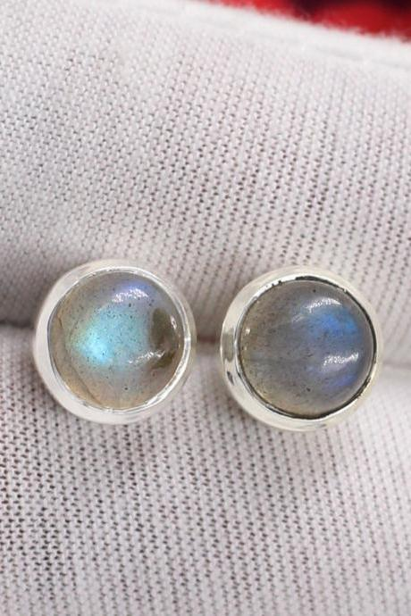 Labradorite Pair Gemstone Stud Post 8mm Round Earring Solid 925 Sterling Silver Jewelry,Girls Gift Valentine's Day Post Earring ETER249