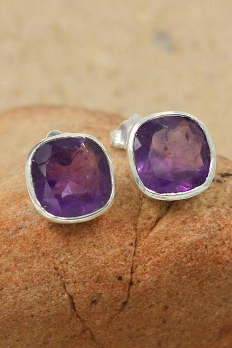 Classy Genuine Amethyst Stud Handmade 10mm Post Earring,Solid 925 Sterling Silver Jewelry,Formal Wear Earring,Proposal Gift Earring
