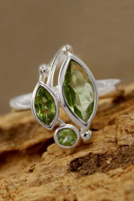 Peridot Three Stone Designer Ring Solid 925 Sterling Silver Jewelry,Anniversary Gift Ring,Birthday Gift Present Ring MR1179