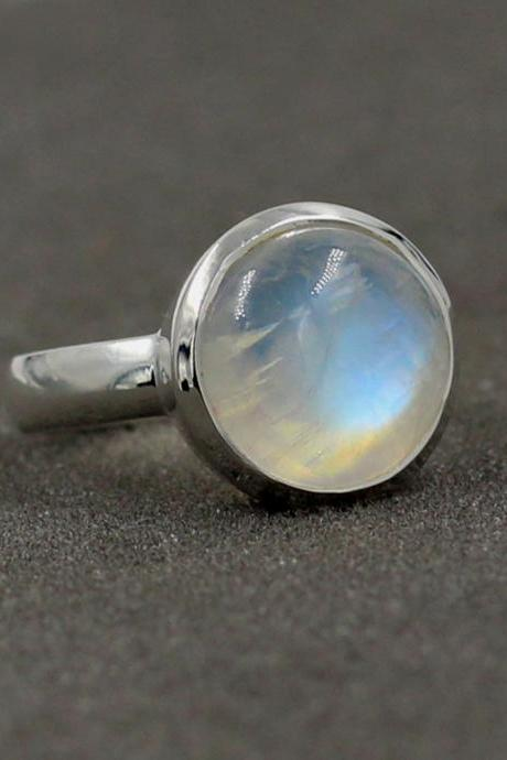 Rainbow Moonstone Handmade Ring Solid 925 Sterling Silver Jewelry,Anniversary Ring,Handmade 12 mm Moonstone Ring,Birthday Gift for Mother