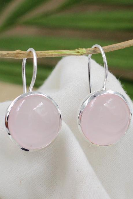 Rose Quartz Gemstone Handmade Earring,Solid 925 Sterling Silver Jewelry,Clear Rose Quartz Earring,Christmas Gift Earring,ETER234