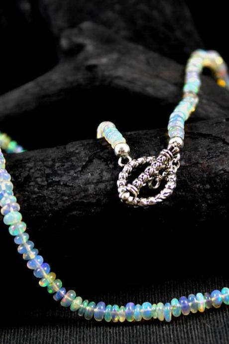 Ethiopian Opal Beads Necklace hand knotted delicate neck wear ethnic toggle lock annivesary gift fire opal partywear elegant necklaceETN1002