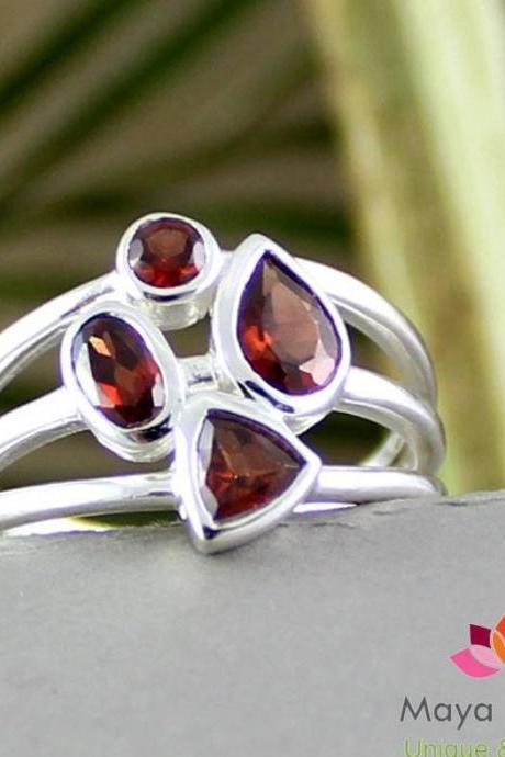 Delicate Red Garnet Ring,925 sterling silver jewelry,Promise ring,friendship ring,Silver Ring gift for Girl friend,bride's Maid gift MR1043