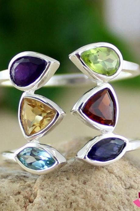 Gorgeous Real Gemstone Ring,925 sterling silver Handmade jewelry,Front open adjustable Ring,Anniversary Gift,Valentine Ring,Proposal Ring,