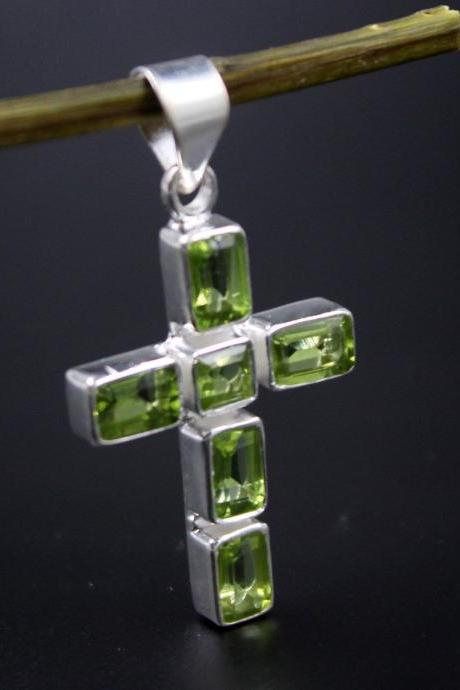 Holy Cross Pendant,Natural Gemstone Pure 925 Sterling Silver Pendant,Religious Pendant,Christmas gift,Everyday Wear jewelry,Christian Cross