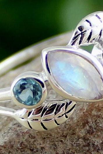 Charming Dainty Moonstone blue topaz ring,gift for daughter's birthday,Solid sterling 925 silver jewelry,proposal ring,Midi Ring for Friend