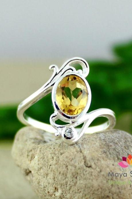 Natural Citrine Solitaire Ring,Gift For Girl friend,925 Sterling Silver women's jewelry,Promise Ring,Engagement Ring, Birthday Gift MR1157
