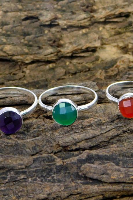 Green onyx Ring, Amethyst Ring, Carnelian Ring ,sterling silver ring, Round Checker cut Ring,Birthday gift rings MR1109