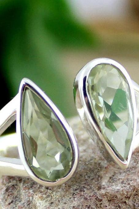Green Amethyst ring,Front Open adjustable ring,Anniversary Gift,Unisex Ring,Gift for Mother,Valentine Gift,Solid 925 Sterling Silver Jewelry