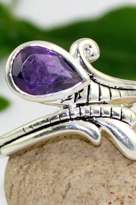 Designer Amethyst ring,925 sterling silver ring,Solitaire,Gemstone Jewelry,Anniversary Gift Ring,Tear Drop,Natural Amethyst,Promise Ring