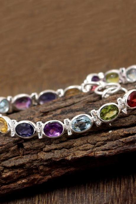 Exquisite Tennis Bracelet,solid 925 sterling silver gemstone Jewelry,Valentine gift for wife,Proposal gift,Amethyst,Garnet Bridal Jewelry
