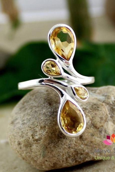 Gorgeous Yellow Citrine ring,Natural Birthstone jewelry,Wedding Gift,solid 925 sterling silver,family ring,Gift for Mothers & Daughters