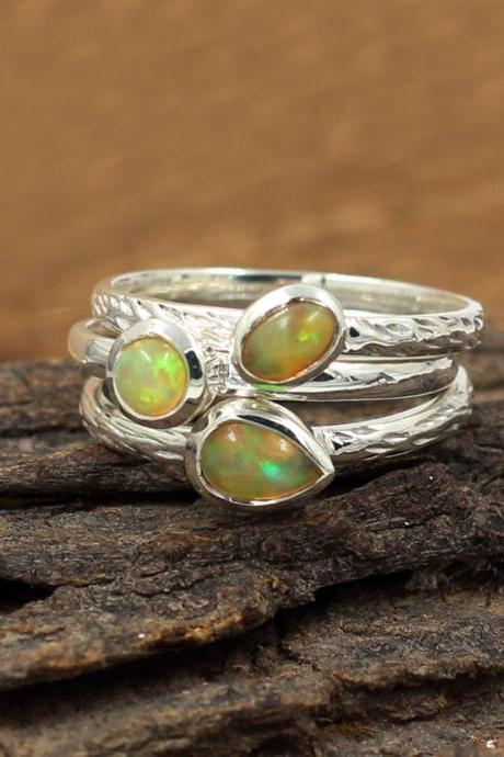 Stacking ring,Real Ethiopian Opal Gemstone,Solid 925 Sterling Silver Jewelry, Birthday Gift for your daughter,Valentine Ring,My Silver Rings